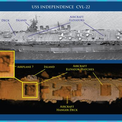 Sonar image of USS Independence wreck