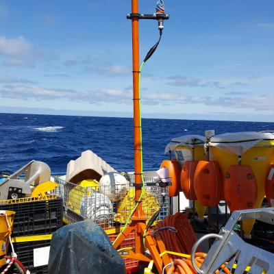 A hydrophone array on deck