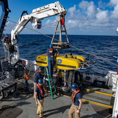 ROV Hercules dive prep on the aft deck of E/V Nautilus
