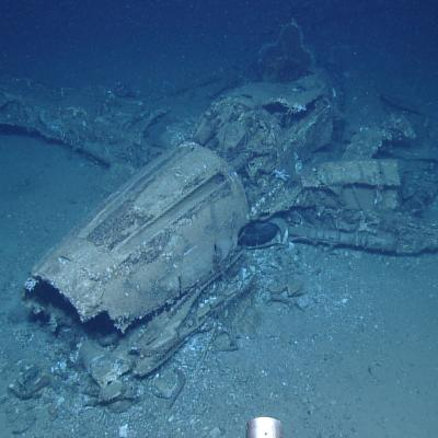 Underwater wreck of WWII airplane