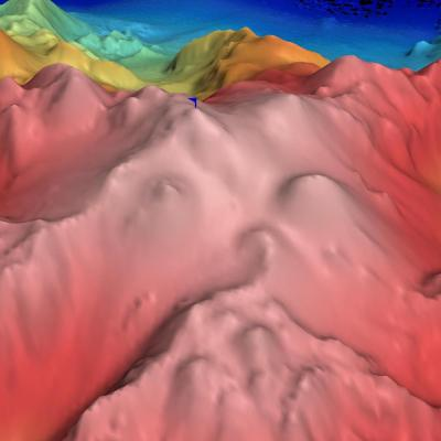 False color sonar map of seamount