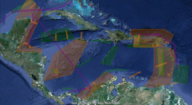 Map of Caribbean Sea with areas of interest