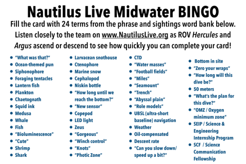 Page one of the midwater bingo cards