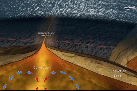 Graphic showing tectonic spreading center