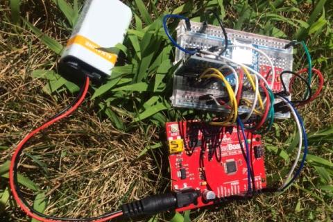 Arduino boards on the ground in grass