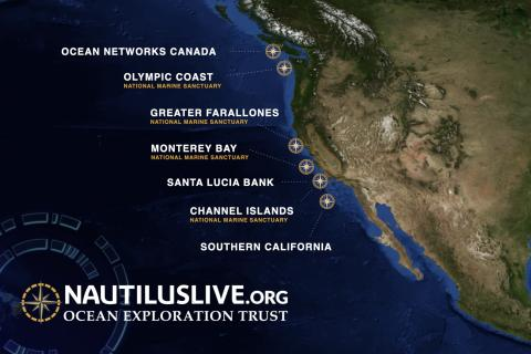 2020 expedition map of sites along the Eastern Pacific