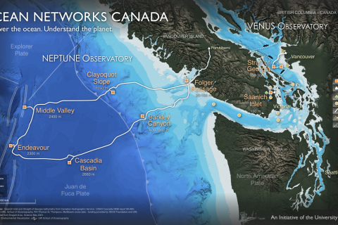 Ocean Networks Canada NEPTUNE observatory map