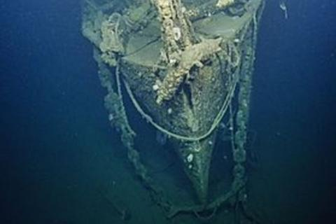 bow of sunken ship