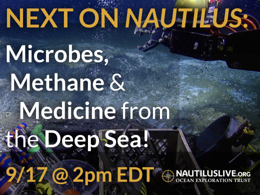 Next on Nautilus banner - white text reading microbes, methane, & medicine from the deep sea over a background image of methane hydrate