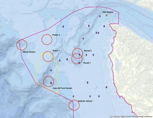 Map of dive targets
