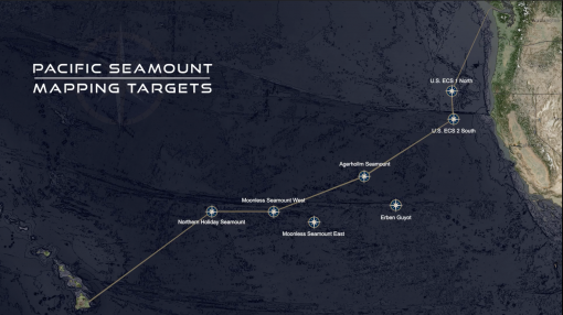 Map showing Pacific Seamount mapping targets