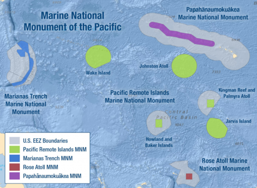 Map of Marine National Monument of the Pacific