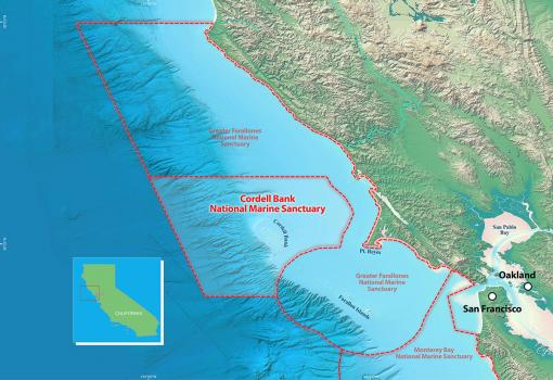 map of Cordell Bank and Greater Farallones National Marine Sanctuaries