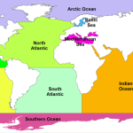 Labeled map of global ocean basins